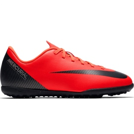 Zapatillas de fútbol Nike Mercurial Vapor X 12 Club Gs CR7 Tf Jr AJ3106 600 rojo