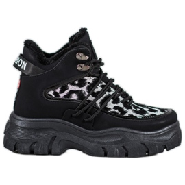 SHELOVET Zapatillas con estampado de leopardo negro