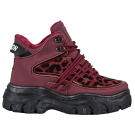 SHELOVET Zapatillas con estampado de leopardo rojo