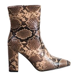 Seastar Botas con estampado de serpiente marrón
