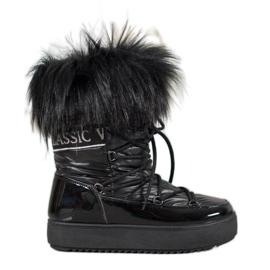 Bella Paris Botas de nieve cálidas con piel negro