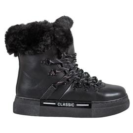 Bella Paris Botas de nieve clásicas negras negro