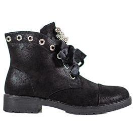 Bella Paris Botas con lazo decorativo negro