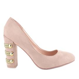 Zapatos de tacón de ante beige con tacones altos DD59P marrón
