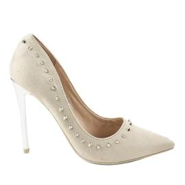 Zapatos de salón beige con tacón NF-04 marrón