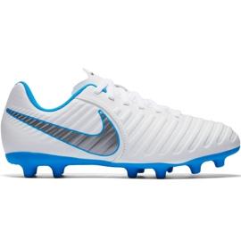 Nike Tiempo Legend 7 Club Fg Jr AH7255107 zapatos de fútbol blanco blanco, azul