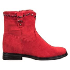 Ideal Shoes Cálidas botas de vaquero con pedrería rojo