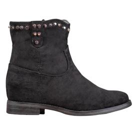 Ideal Shoes Cálidas botas de vaquero con pedrería negro