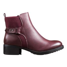 SHELOVET Botas cómodas de Borgoña rojo