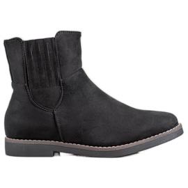 Clowse Botas de gamuza cómoda negro
