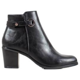 Ideal Shoes Botas clásicas de cuero ecológico negro