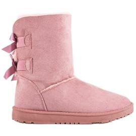 Haver Botas de nieve cálidas con lazos rosa
