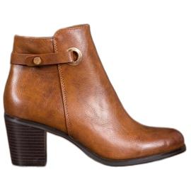 Ideal Shoes Botas clásicas de cuero ecológico marrón