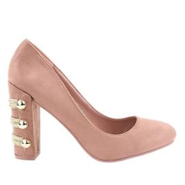 Zapatos de salón de ante rosa con tacones altos DD59P