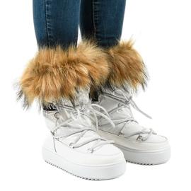 Botas de nieve blancas de moda con pieles 119-39 blanco