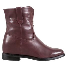 Ideal Shoes Botas Vaqueras Con Cuero Ecológico rojo