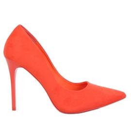 Zapatos de tacón de gamuza naranja LE07P con tacón naranja