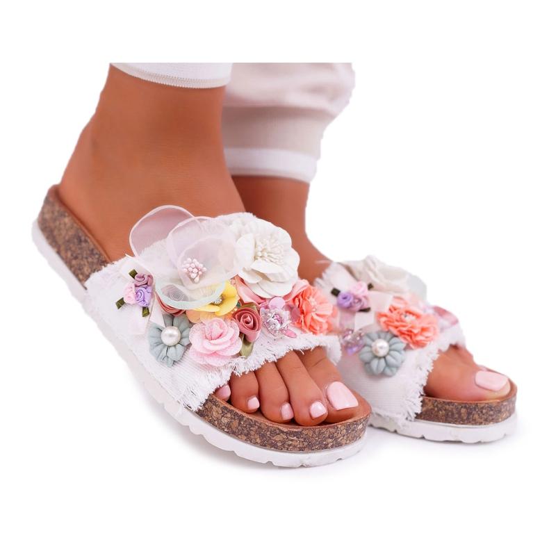 SEA Zapatillas de mujer con flores blancas de Enrissa blanco