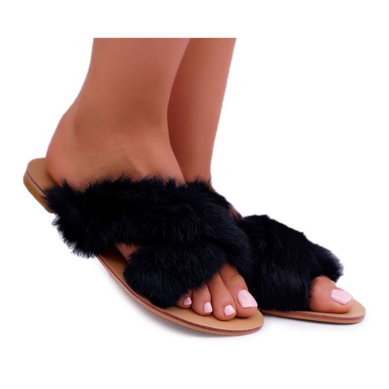 Pantuflas De Mujer Con Piel Lu Boo Black Pimmer negro