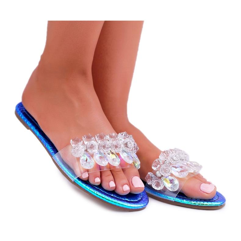 Zapatillas de mujer con circonita cúbica Lu Boo Gas Blue Median azul