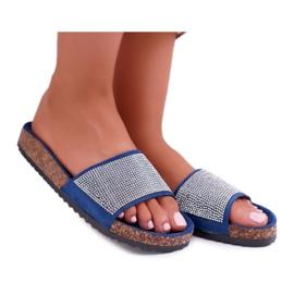 SEA Zapatillas de mujer en corcho con cristales azul marino ¡Hazlo! marina