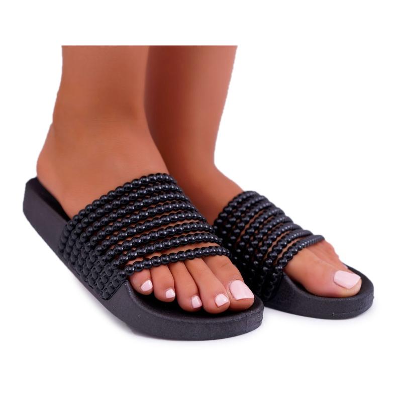 Zapatillas de mujer con cuentas Elavi negras negro