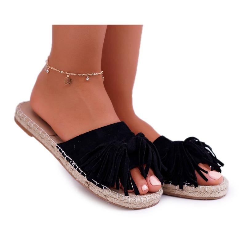 Pantuflas negras para mujer Boho Vices 8458 negro