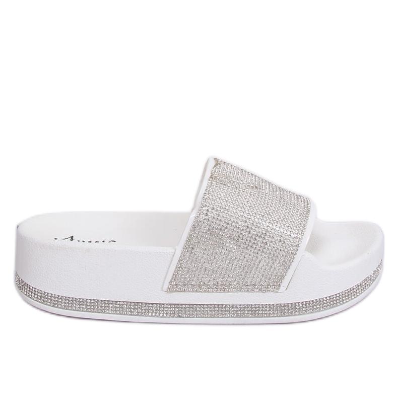 Zapatillas blancas en suela gruesa N-59 Blanco gris
