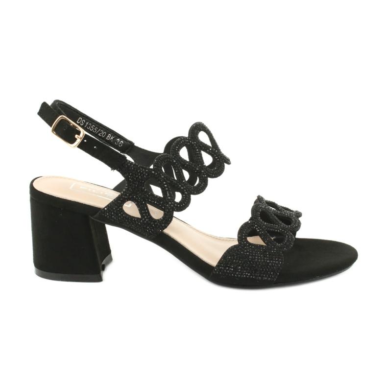 Sandalias negras con circonita cúbica Filippo DS1355 / 20 BK negro