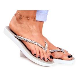 SEA Pantuflas para mujer Chanclas Cinturón trenzado Gris Peggie
