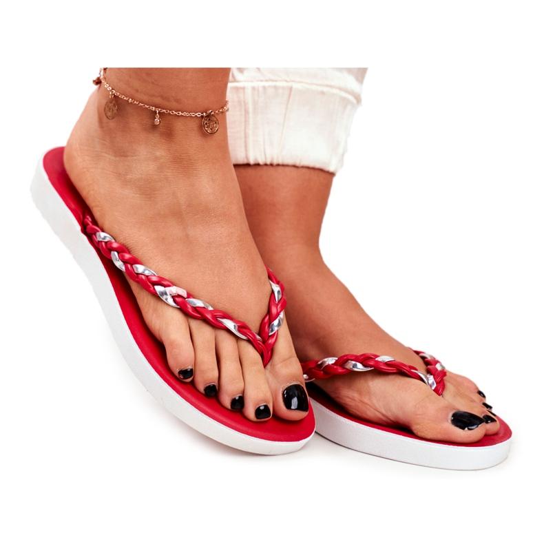 SEA Pantuflas para mujer Chanclas Cinturón trenzado Peggie rojo