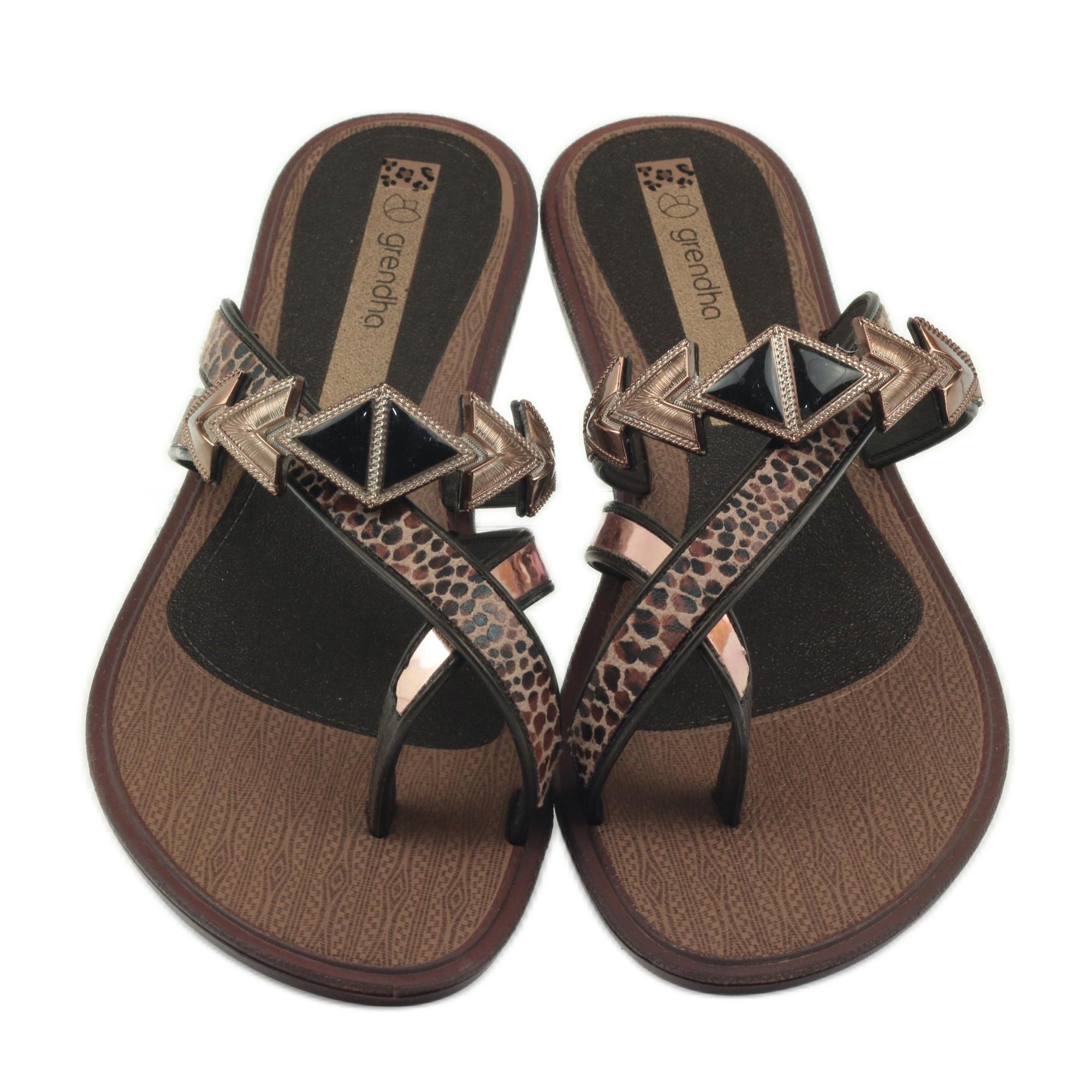 Mujer De Ipanema Marrón Grendha Zapatos Con Piedras Chanclas 345RjLA