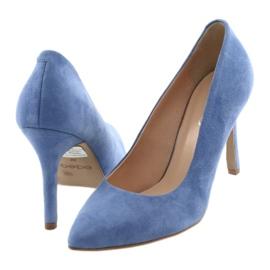 Bombas en un pin zapatos de mujer Edeo 3313 azul 4