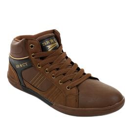 Zapatillas marrones con cordones para hombre 15M749 1