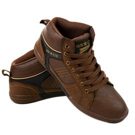 Zapatillas marrones con cordones para hombre 15M749 3