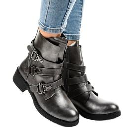Botas grises de mujer con hebillas HQ1588 1