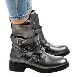 Botas grises de mujer con hebillas HQ1588 2