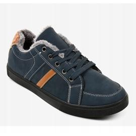 Zapatillas de hombre azul oscuro con piel E756M-2 marina 1