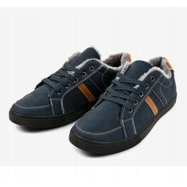Zapatillas de hombre azul oscuro con piel E756M-2 marina 2