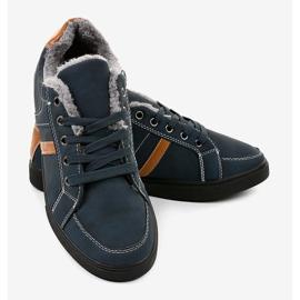 Zapatillas de hombre azul oscuro con piel E756M-2 marina 3
