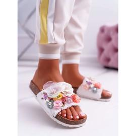SEA Zapatillas de mujer con flores blancas de Enrissa blanco 9
