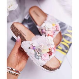 SEA Zapatillas de mujer con flores blancas de Enrissa blanco 2