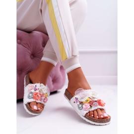 SEA Zapatillas de mujer con flores blancas de Enrissa blanco 6