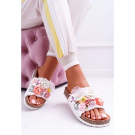 SEA Zapatillas de mujer con flores blancas de Enrissa blanco 5