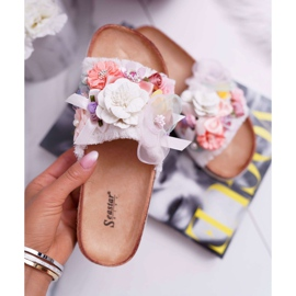 SEA Zapatillas de mujer con flores blancas de Enrissa blanco 3