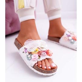SEA Zapatillas de mujer con flores blancas de Enrissa blanco 7
