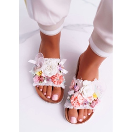 SEA Zapatillas de mujer con flores blancas de Enrissa blanco 8