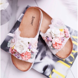 SEA Zapatillas de mujer con flores blancas de Enrissa blanco 4