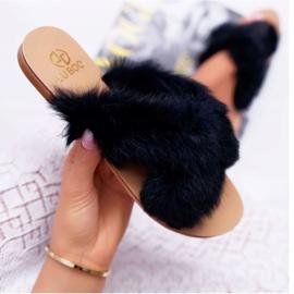 Pantuflas De Mujer Con Piel Lu Boo Black Pimmer negro 5