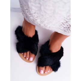 Pantuflas De Mujer Con Piel Lu Boo Black Pimmer negro 3